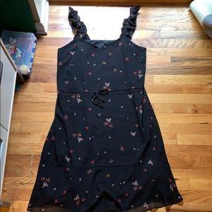 Who What Wear Black Floral Print Dress